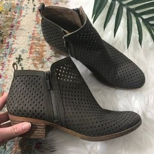 Lucky Brand • Perforated Side Zip Ankle Boots
